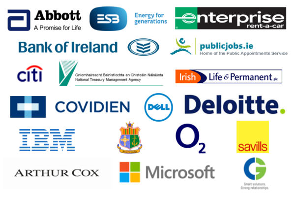 Abbott, ESB, Enterprise Rent a Car, Bank of Ireland, Public Appointments Service, Citi Group, National Treasury Management Agency, Irish Life & Permanent, Covideon, Dell, Deloitte, IBM, Mater Private, O2, Savills, Arthur Cox, Microsoft, CG Systems
