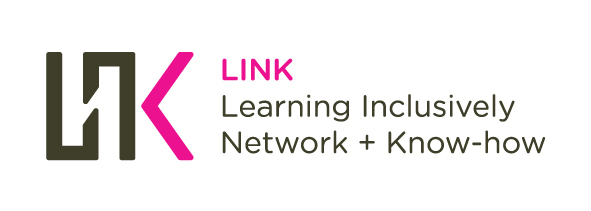 Image of the 'LINK' logo in grey and pink, with text 'Learning Inclusively Network + Know-how'.