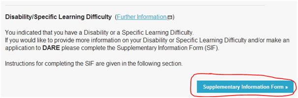 Click the 'Supplementary Information Form' button to go the Supplementary Information Form (SIF)