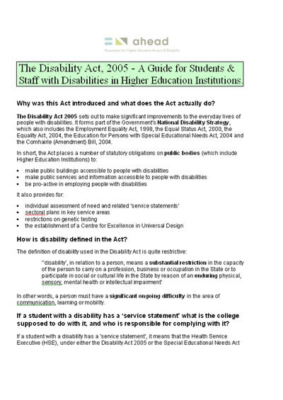 Guide: The Disability Act 2005 (PDF)