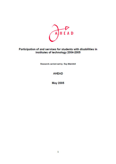 Report: Students with Disabilities in Institutes of Technology 2005-2006 (PDF)